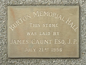 Burton Memorial Hall datestone