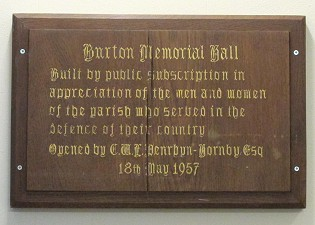 Burton Memorial Hall Plaque from opening day 1957